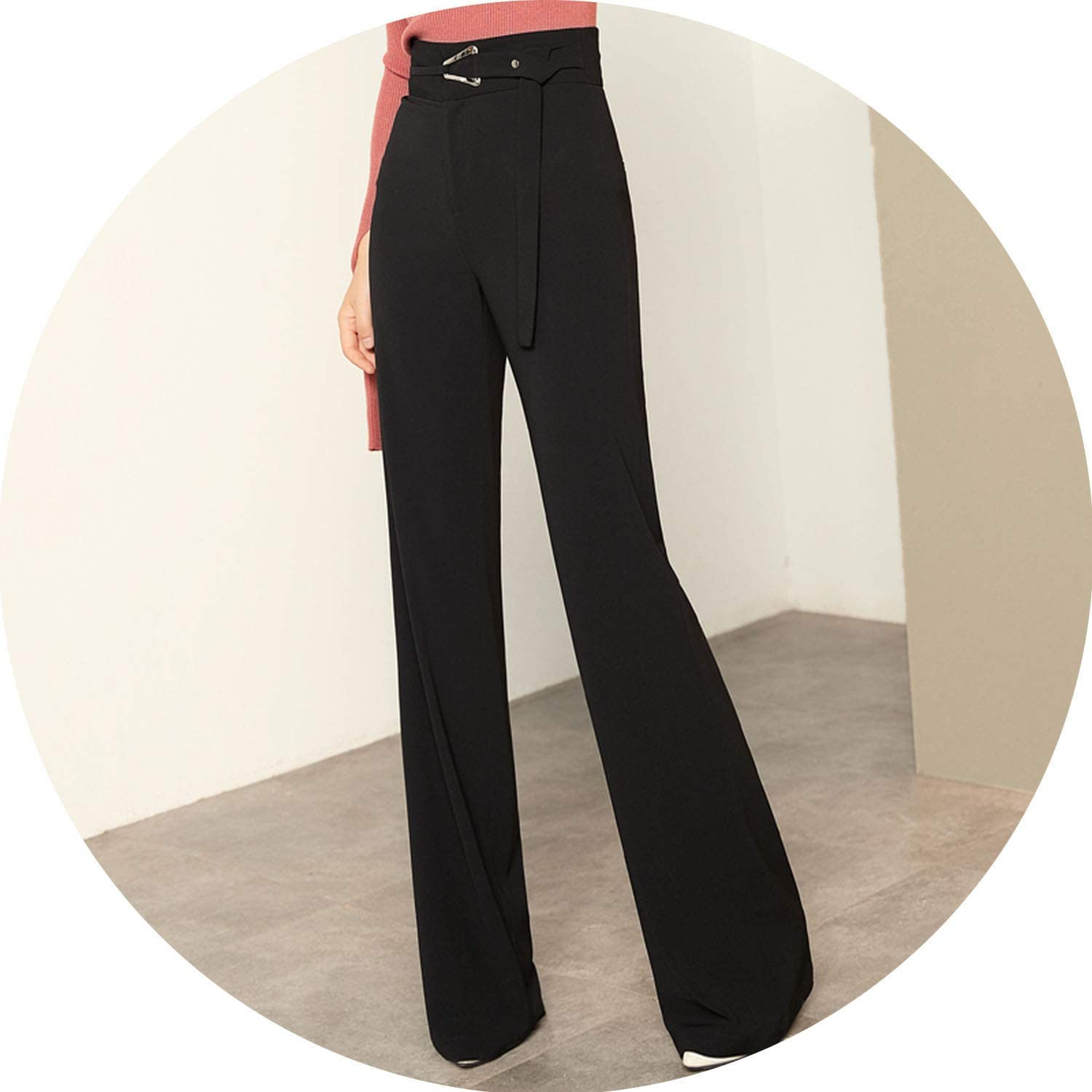 Can't be satisfied High Waist Women's Black Long Trousers Office Lady Loose Straight Pants Black Woman Wide Pants