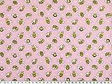 ab 1m: Kinderstoff, Baumwolldruck, Bienen, rosa-gelb, 145cm