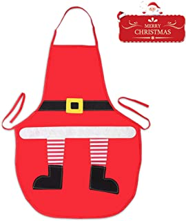 Kids Christmas Apron, Holiday Santa Kitchen Cooking Apron for Girls Boys Children Kids Chef Cooking, Baking, Crafting, BBQ