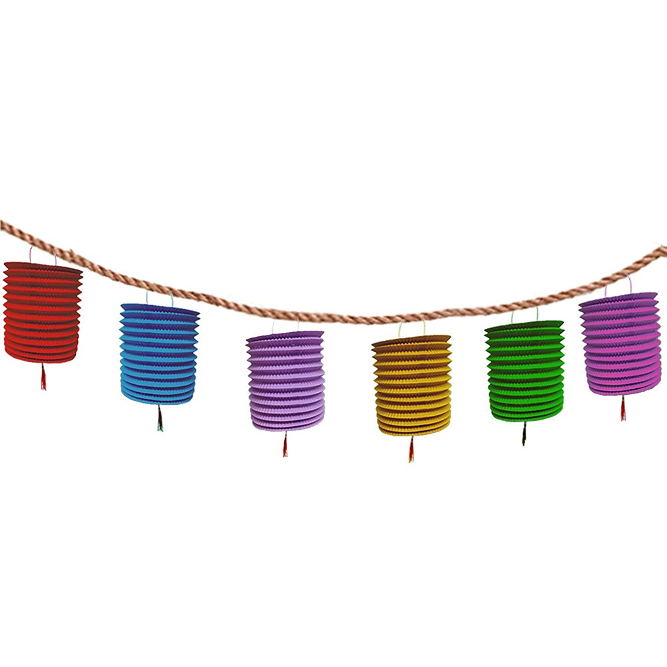 Christmas Multi Colored Hanging Honeycomb Paper Lanterns With Tassel - Colorful Hanging Garland - Set of 12. Great Outdoor Party Decoration.