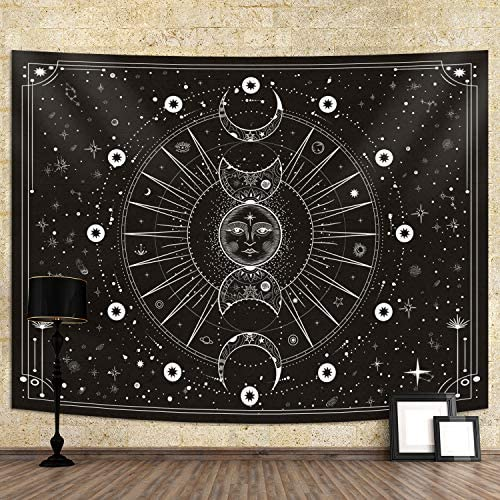Sun Moon Tapestry Wall Hanging Stars Space Psychedelic Black and White Wall Tapestry for Bedroom product image