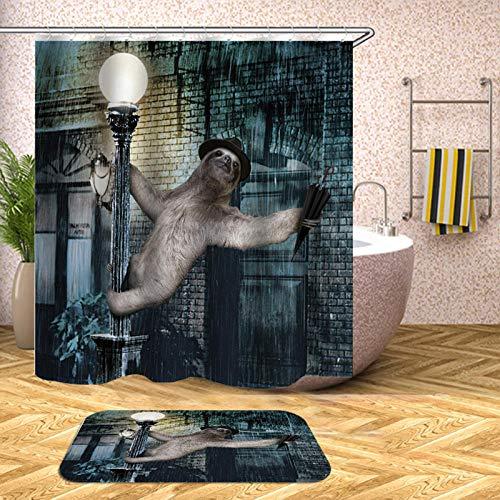 chuanglanja schimmelbestendig douchegordijn Gorilla bedrukt waterdicht douchegordijn van polyester antislip mat tweedelige set 180 * 200cm