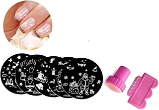 UOKNICE Christmas Clear Nail Art Silicon Head Stamping Stamper Scraper Image Plate Manicure Print Xmas Gift Decorations