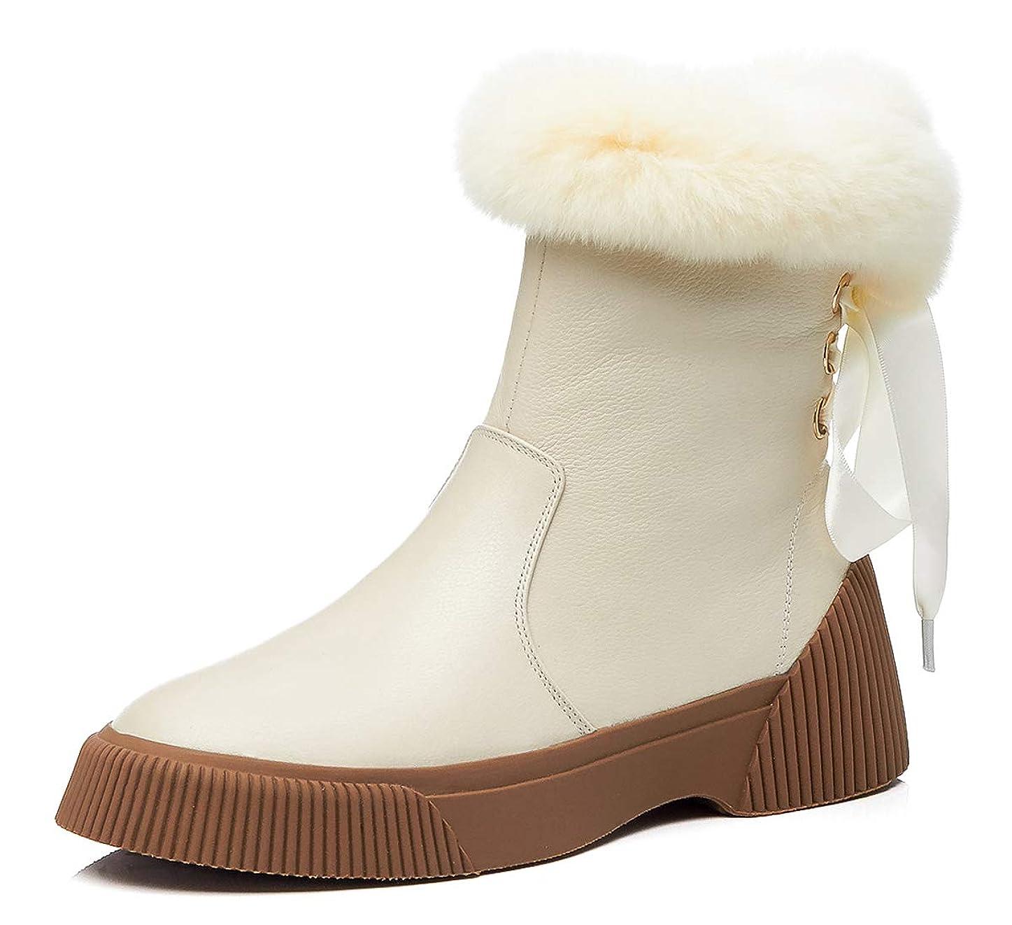 独特の話す許可する[チカル] CHICULL レディース ブーツ 裏起毛 ショートブーツ 厚底 アンクルブーツ バック リボン スニーカー 羊毛 ボアブーツ サイドジッパー プラットフォーム 4cm ヒール 身長 牛革 本革 レザー 秋冬 靴 カジュアル シューズ