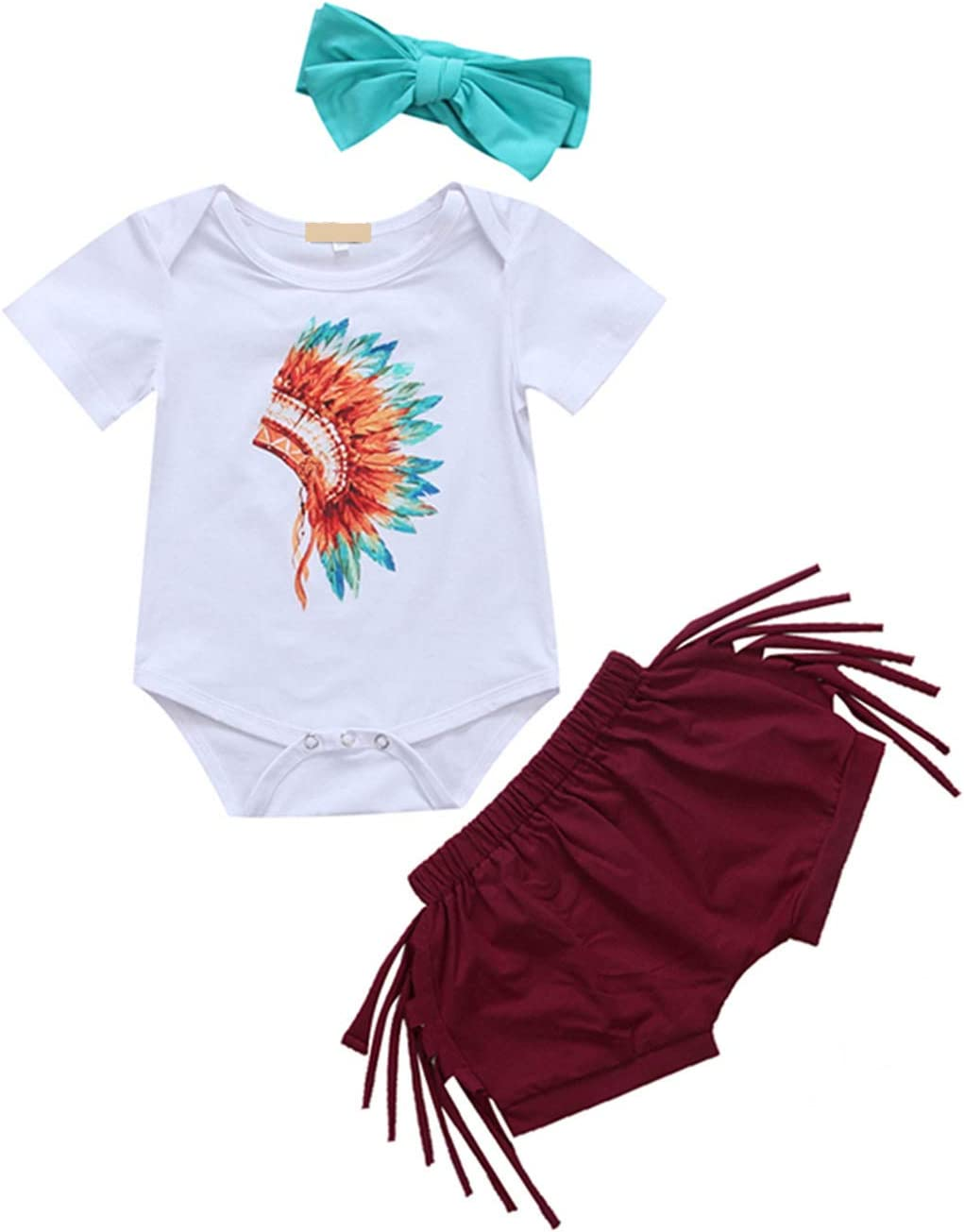 3PCS Newborn Baby Girl Clothes Children Kids Short Sleeve Romper Tops+Tassel Shorts Bottom Headband Outfits Sunsuit 18M,as picture
