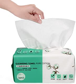 Facial Cotton Tissues Soft Cotton Towel Absorbent Cotton Pads, Multi-Purpose Cleaning Face Towel, Remover for Face Eye Makeup and Nail Polish, Dry/Wet Amphibious Large Size (100 Pcs)