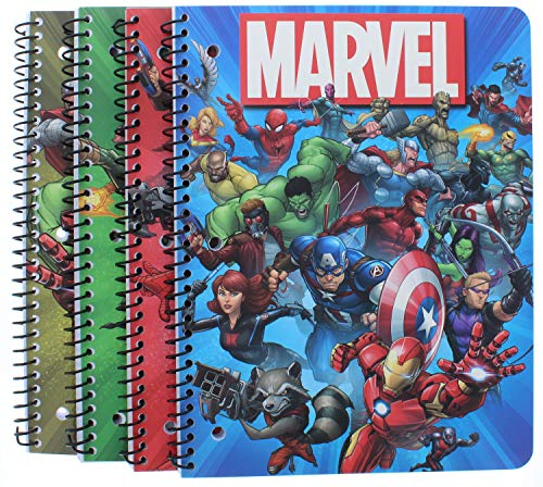 4 Pk. Marvel Super Hero 1-Subject Notebooks 80 Pages each (Assorted Designs)