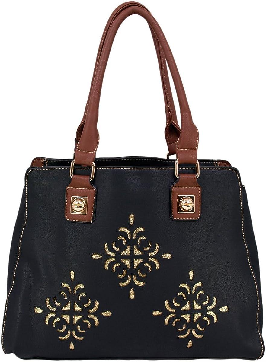 Premium Soft Glitter Floral Satchel Top Handle Shoulder Bag Handbag -Diff Colors