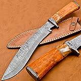 BK-3034 Handmade Damascus Steel 15 Inches Damascus Steel Kukri Knive - Coloured Cammel