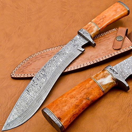 BK-3034 Handmade Damascus Steel 15 Inches Damascus Steel Kukri Knive - Coloured Cammel Bone Handle With Damascus Steel Gurd/Pommel