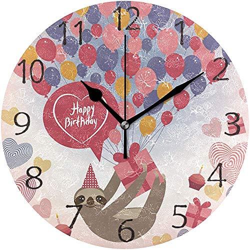 TABUE Wandklok Silent 9,5 inch batterij aangedreven non-ticking verjaardagskaart cadeau luchtballonnen ronde acryl quiet horloges
