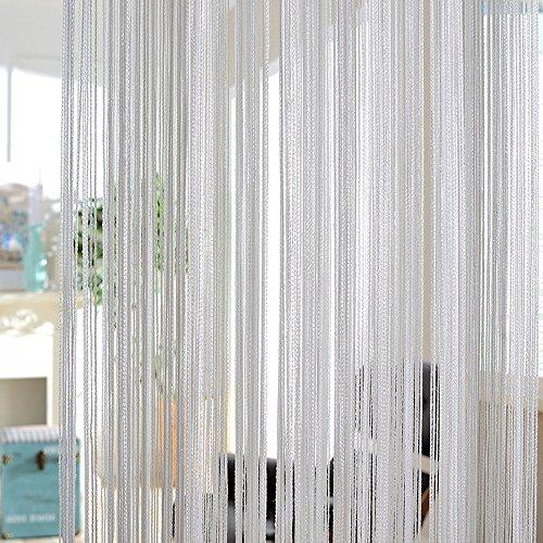 Glitter String Vorhänge Metallic Flitter Tür Trennwand Vorhang Shimmer Fliegengitter Terrasse Fransen Fenster Dekoration für Geburtstag Hochzeit Party, grau, 1Pc
