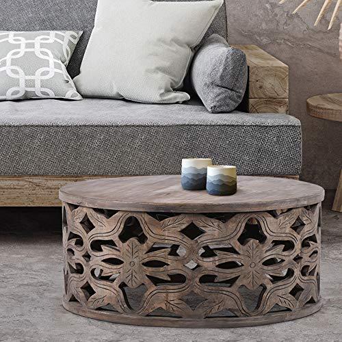 WOMO-DESIGN Orientalischer Couchtisch Eindhoven Ø75x35 cm rund, Grau, Massivholz Mangoholz handgeschnitzt, Indische Design, Beistelltisch Sofatisch Wohnzimmertisch Loungetisch Tisch für Wohnzimmer