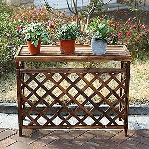 YBB-YB YankimX Carbonation - Soporte de flores de madera maciza rural para hacer que el suelo viejo soporte para macetas, marco para interiores y exteriores, marco para bonsái, color marrón