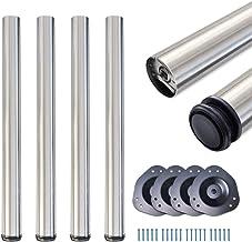 sossai® Standard tafelpoten STBGS | in hoogte verstelbaar | Ontwerp: geborsteld roestvrij staal | 4 stuks | Hoogte: 110 cm...