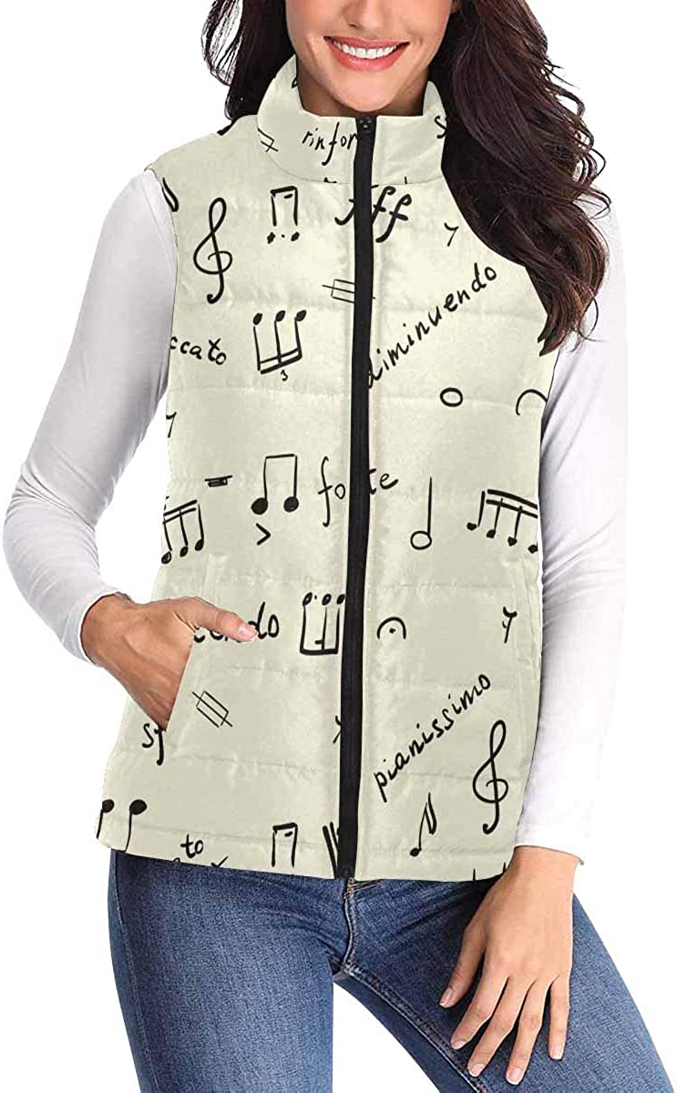 InterestPrint Women's zipper Sleeveless Padded Vest with Pocket for Travel Musical Heart in Red Colored