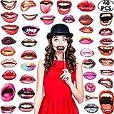 40 Stücke Party Foto Stand Requisiten, Lustige Mund Lippen Foto Stand Requisiten, Lustige Mund DIY Set mit Holzstab Selfie Requisiten...