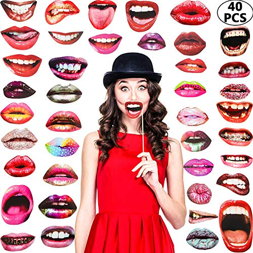 Party Photo Booth Props, Funny Mouth Lips Photo Booth Prop, Funny Mouth DIY Set with Wood Stick Selfie Props Accessories for Birthday/Wedding/Graduation/Halloween Party (Mouth Lip, 40 Pieces)
