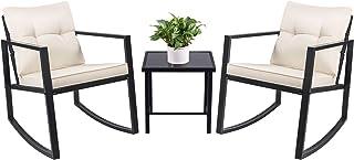 Devoko 3 Piece Rocking Bistro Set Wicker Patio Outdoor Furniture Porch Chairs..