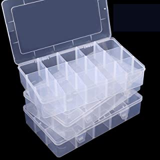 SGHUO 3 Pack 15 Grids Plastic Organizer Box for Washi Tape, Clear Crafts and Jewelry Storage Box with Adjustable Dividers