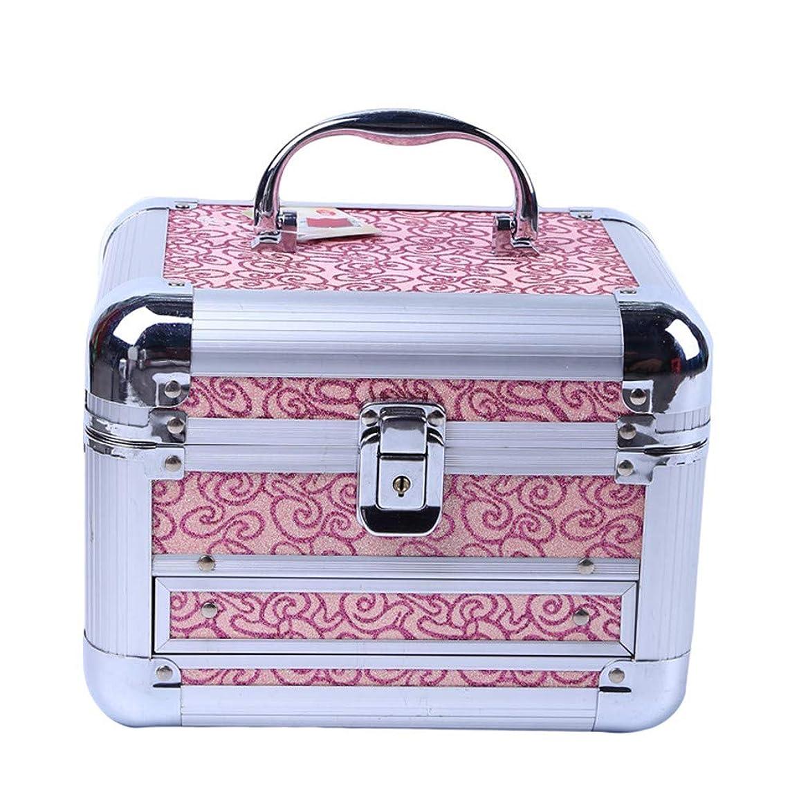 更新金銭的敵化粧オーガナイザーバッグ 美容メイクアップのための大容量ポータブル化粧ケース、女子女性のための化粧鏡と折り畳みトレイと旅行と毎日のストレージ 化粧品ケース