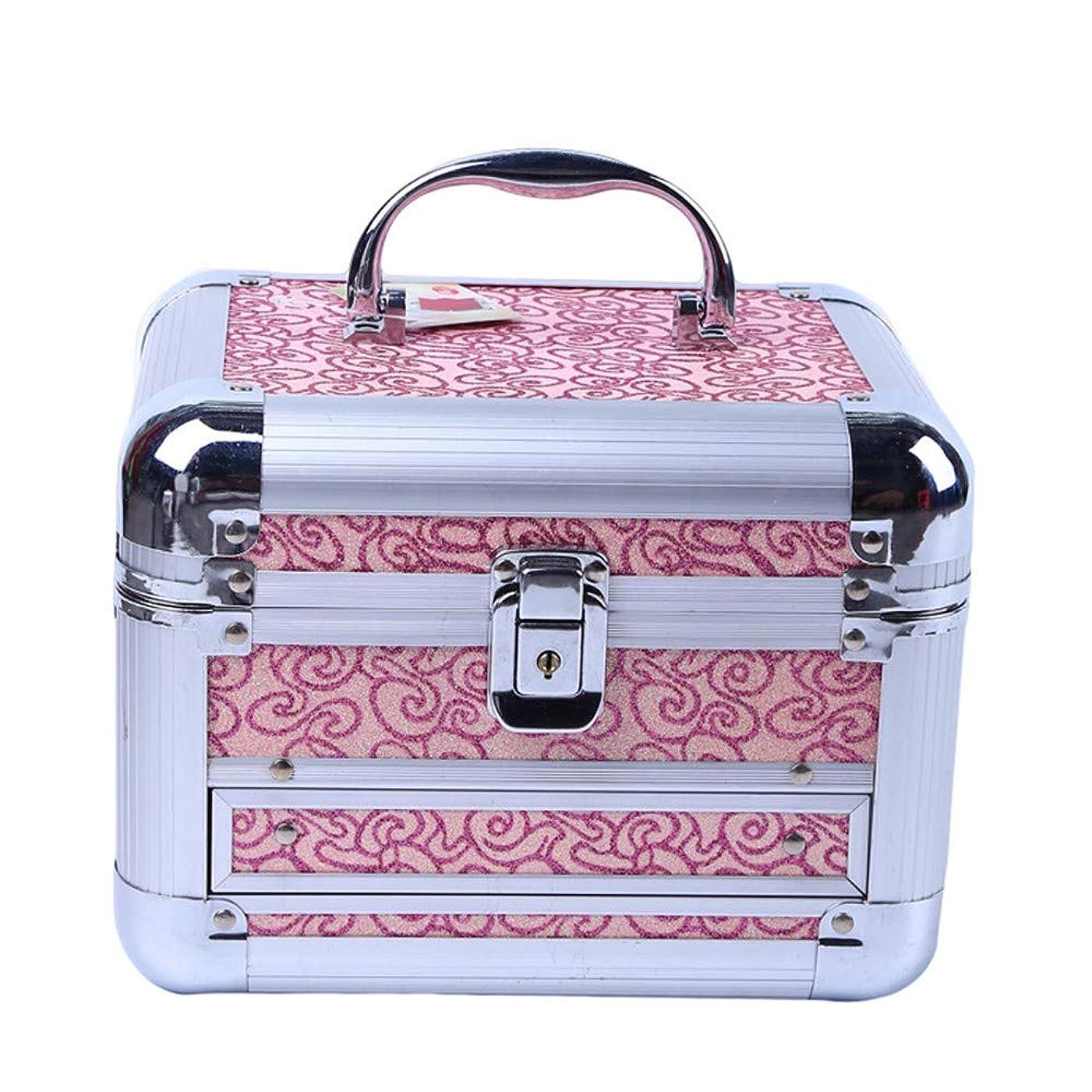 ニックネーム開業医バース化粧オーガナイザーバッグ 美容メイクアップのための大容量ポータブル化粧ケース、女子女性のための化粧鏡と折り畳みトレイと旅行と毎日のストレージ 化粧品ケース
