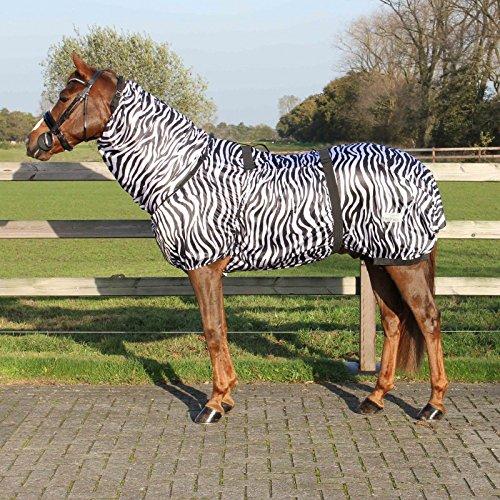 QHP Ekzemdecke mit Hals und abnehmbarem Bauchlatz (110 cm, Zebra)