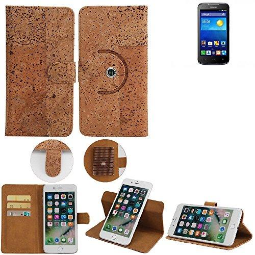 K-S-Trade® Schutz Hülle Für Huawei Ascend Y540 Handyhülle Kork Handy Tasche Korkhülle Handytasche Wallet Case Walletcase Schutzhülle Flip Cover Smartphone
