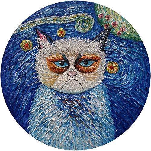 Pintura al óleo pintada a mano, diseño de gato de Van Gogh sobre lienzo estirado, moderno pop decoración de pared