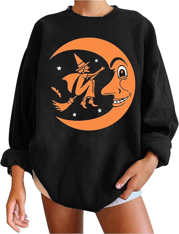Women Halloween Print Sweatshirt Skull Pumpkin Graphic Casual Loose Tunics Shirts Round Neck Oversized Pullover