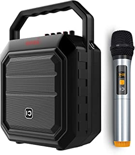 Portable Voice Amplifier with Wireless Handheld Microphone PA System Loudspeaker Amp Megaphone Karaoke Player for Meeting, Wedding, Promotion, Presentation, Outdoor Activities H2BK