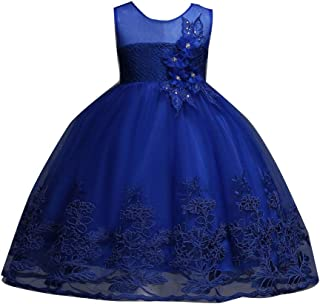 Kid Girl Princess Floral Bowknot Bridesmaid Wedding Birthday Communion Party Prom Maxi Lace Dress