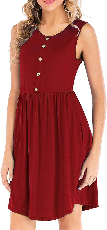 2 Pieces (Random) Summer Women's Casual Loose Short Dress, Sleeveless Knee Length Buttoned TShirt Pocket Dress,Burgundy,S