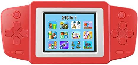 TEBIYOU Handheld Game Console for Kids Seniors Adults with Built in 218 Classic Video Games 2.5'' Screen USB Rechargeable Portable Gaming Console Player Birthday Gift for Toddlers-Red