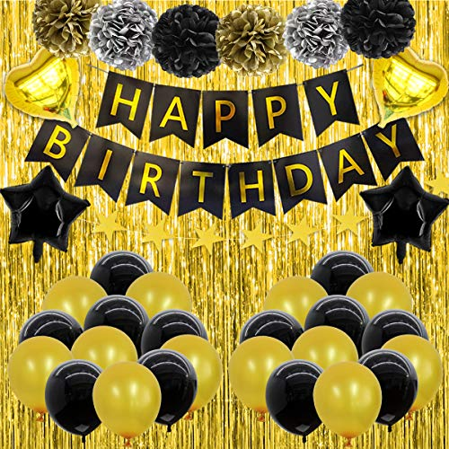 NIUBER Birthday Decorations for Men Him Women Birthday Balloons Party Banner Black and Gold 21st 40th 50th 60th 70th 30th