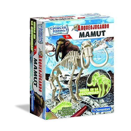 Clementoni-55027 - Arqueojugando Mamut fosforescente - juego científico para excavar y montar dinosaurios a partir de 7 años