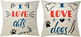 Bublanwo I Love Dog Decorative Pillow Covers I Love Cat Couch Pillows Animal Decor Cushion Covers Home Decoration for Sofa Room Study