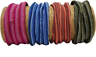 "Bamboo Trading Company Boho Wide Headbands - Set of 4 Striped Headwraps - 7""L x 9""W - Blue, Pink, Orange, Green"