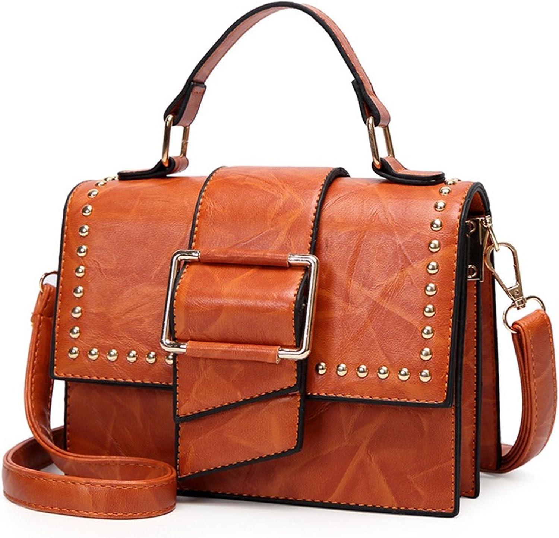 Einfache Retro Magnetnieten Square PU Umhängetasche Messenger Bag, Bag, Bag, Braun Freizeit B07H149JWR  Modisch 90de32