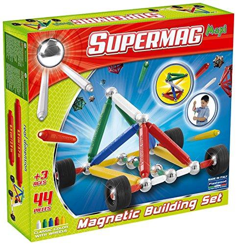 Plastwood - Supermag Maxi ruedas, Construcción del juego magnético, 44 piezas , color/modelo surtido