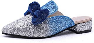 lcky Sequins Lazy Shoes Pointed Toe Half Slippers Slippers Cute Flat Shoes Bow