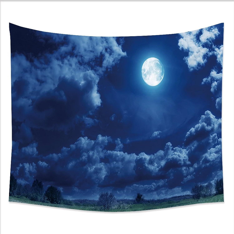 UHOO Decor Fleece Throw Blanket 78296923 bluee Night with Moon for Woollen Blanket