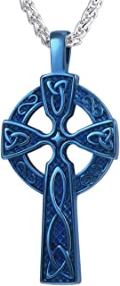 U7 Men 18K Gold Plated/Stainless Steel Irish Knot Celtic Cross Pendant Necklace,22 Inches Link Chain
