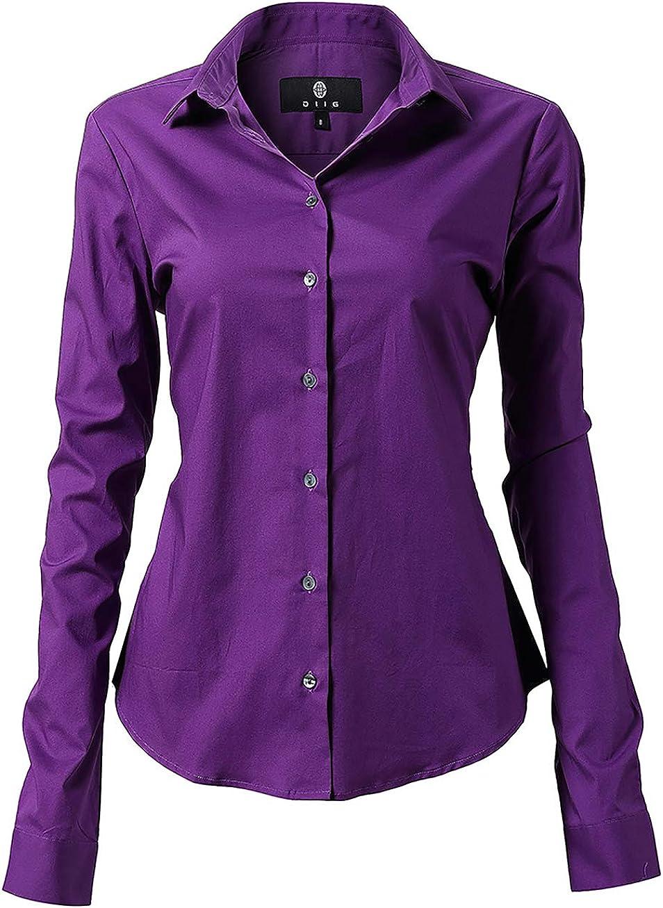 diig Women Dress Shirt - Long Sleeve Cotton Button Down Blouse, Purple 16