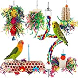iSbaby Bird Toys Bird Shredding Foraging Toys Parakeet Toy Chewing Hanging Toy Bird Shredded Paper Bird Cage Accessories Bird Rope Perch for Conure Cockatiel Budgies (with Rope Perch)