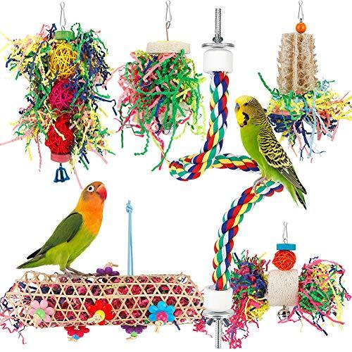Bird Toys Bird Shredding Foraging Toys Parakeet Toy Chewing Hanging Toy Bird Shredded Paper Bird...