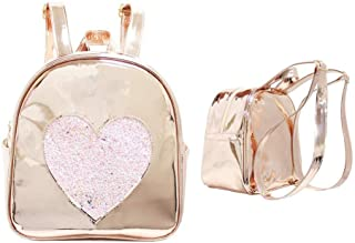 Disco Vibe Backpack Book Bag -Girls & Teen Accessories - Rose Gold with Pink Glitter Heart