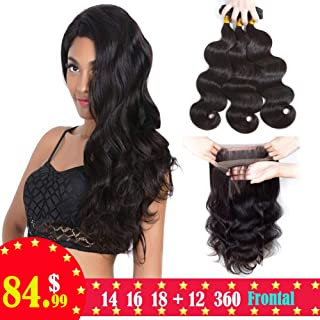 Sweetie Hair Brazilian Body Wave 3 Bundles With Closure 360 Lace Frontal With Bundles 7A Unprocessed Brazilian Human Hair Bundles With Closure 14 16 18 With 12 Inch Natural Color
