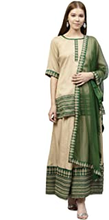 AHALYAA Women's Poly Silk Straight Kurta Sets (Beige)