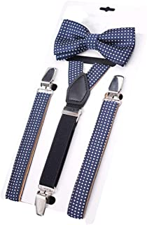 Elastic Polka Dot Suspenders Bow Tie Set For Kids Boys Wedding Formal